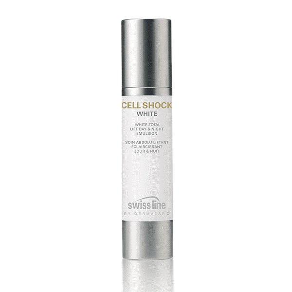 Nhũ tương nâng cơ làm trắng da ngày đêm Swissline Cell Shock White Total Lift Day & Night Emulsion 50 ml