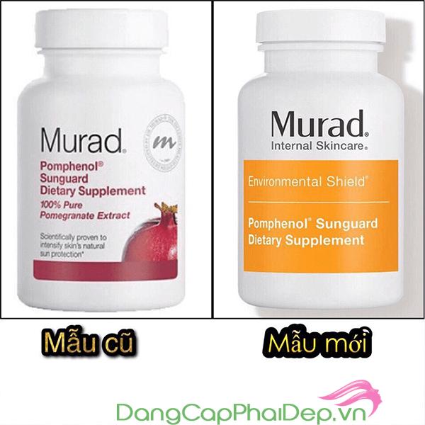 Mẫu cũ và mẫu mới củaviên uống chống nắng nội sinh MuradPomphenol Sunguard
