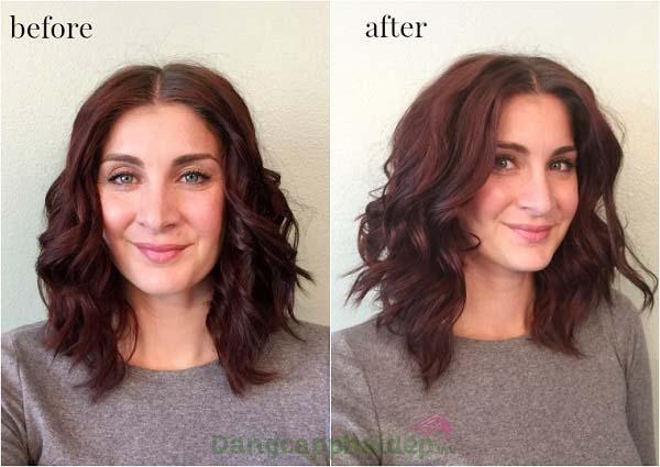 Trước và sau khi sử dụng dầu xả tăng cường sóng xoăn Moroccanoil Curl Enhancing Conditioner.