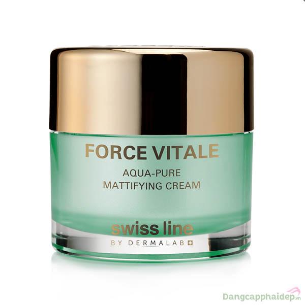 Kem đặc trị dầu mụn và phục hồi thương tổn Swissline Force Vitale Aqua-Pure Mattifying Cream