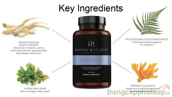 Những thành phần quan trọng nhất có trong viên uống mờ nám, trẻ hóa da Hush & Hush Time Capsule