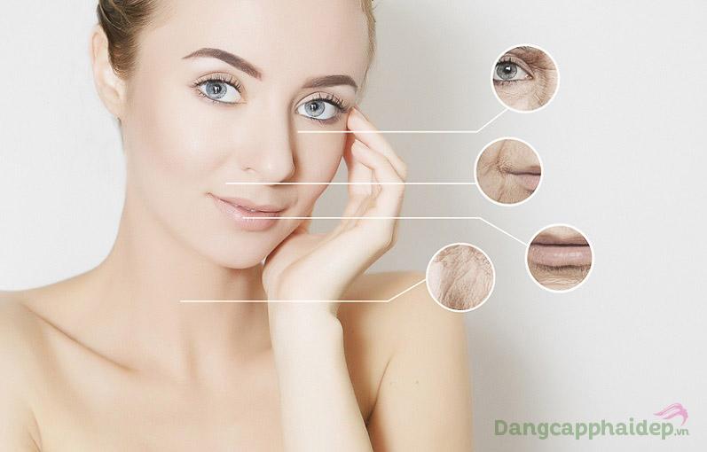 Theo thời gian, làn da dần xuất hiện các dấu hiệu lão hóa như da khô sạm, nhăn nheo...