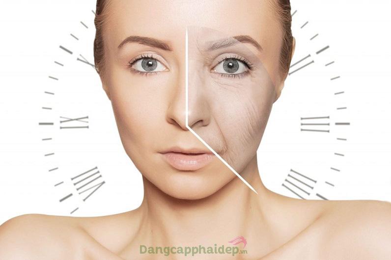 Theo thời gian, làn da vùng mắt và môi xuất hiện các dấu hiệu lão hóa.