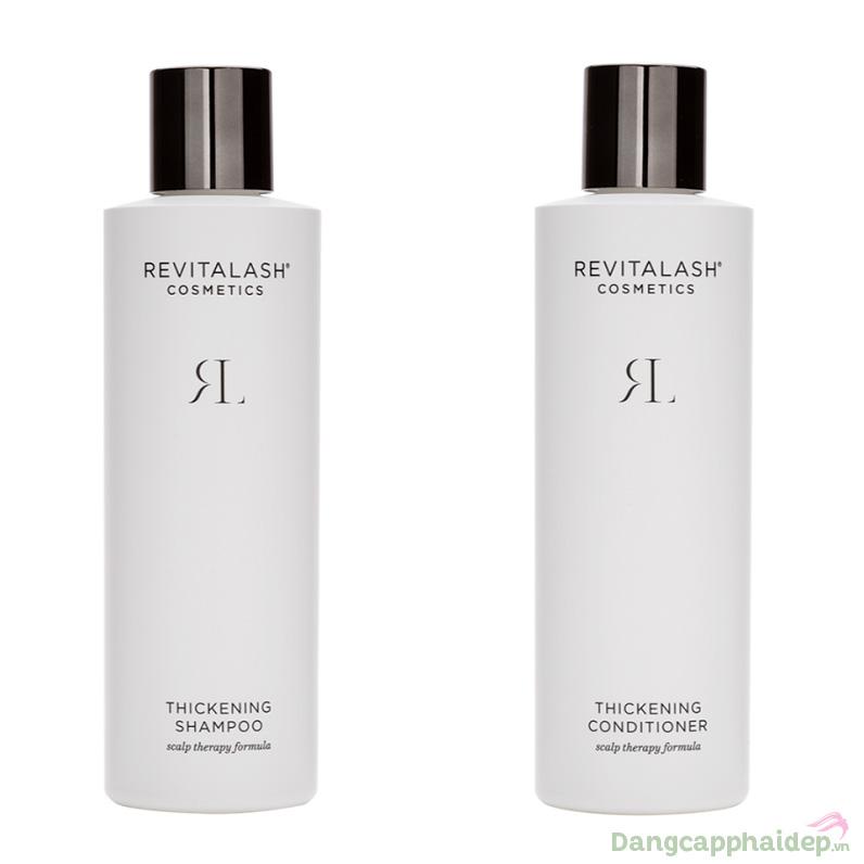 Kết hợp sử dụng dầu gội và dầu xả RevitaLash Thickening giúp tóc bóng khỏe, dày và đầy đặn hơn nhanh chóng