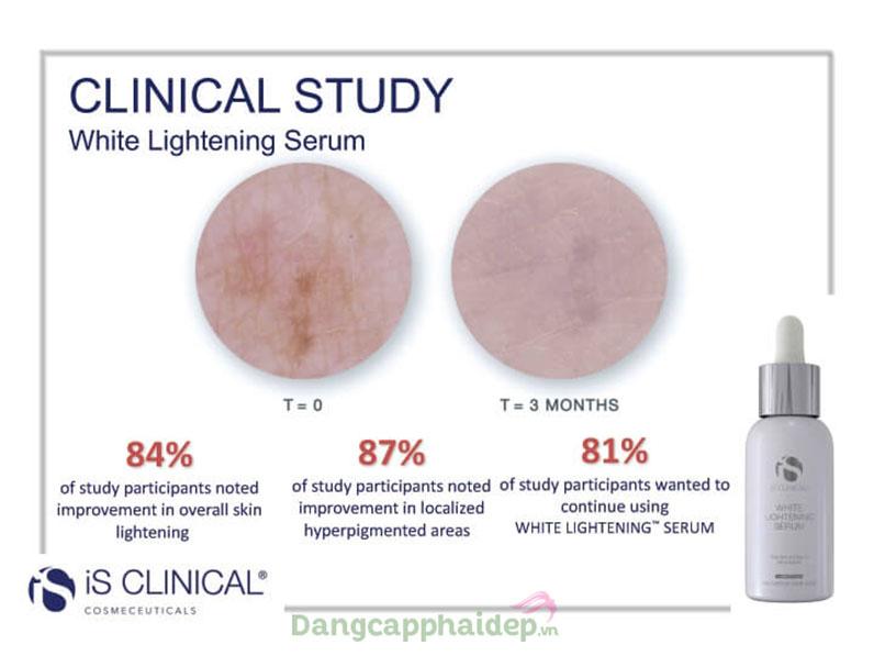 Is Clinical white lightening serum giúp nền da trắng hồng mịn màng, mảng nám được xóa mờ chỉ sau 3 tháng sử dụng.