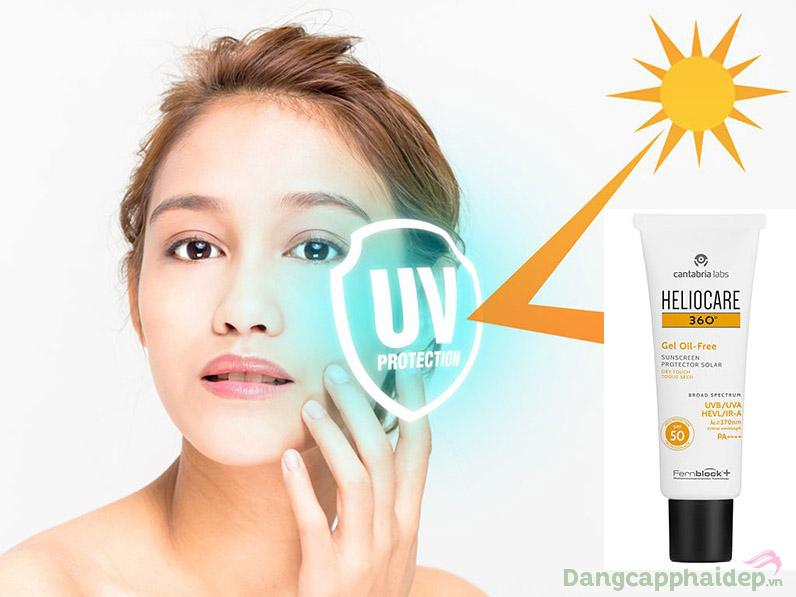 Heliocare 360 Gel Oil-free SPF 50 bảo vệ làn da tối ưu, không bóng dầu, ngăn ngừa mụn.
