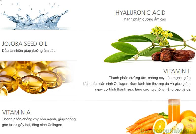 Thành phần thiên nhiên lành tính kết hợp cùng vitamin các loại, nuôi dưỡng và bảo vệ làn da dài lâu.
