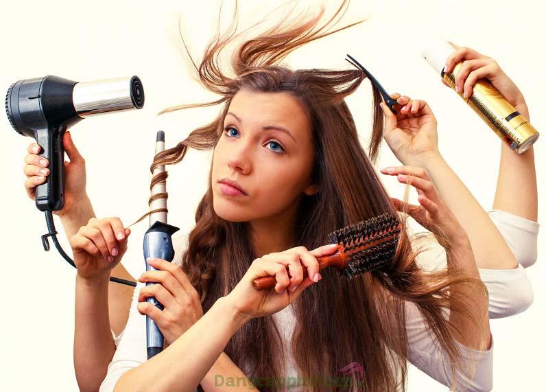 Mái tóc dễ hư tổn vì thói quen sử dụng các công cụ tạo kiểu bằng nhiệt