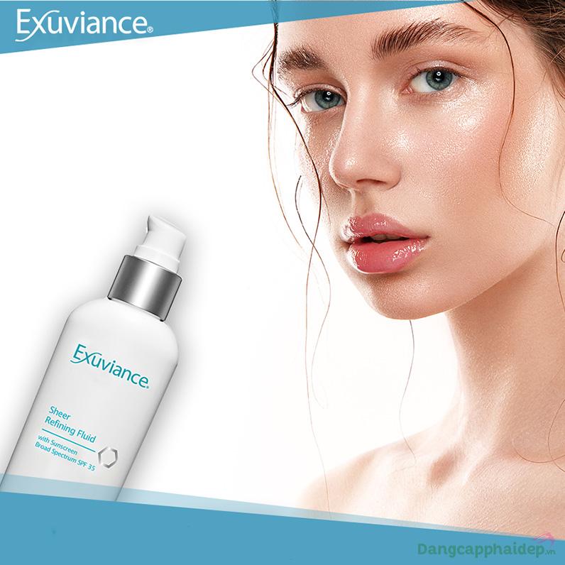 Exuviance Sheer Refining Fluid SPF35 ngăn tiết dầu thừa, cải thiện tông màu da, chống nắng quang phổ rộng.