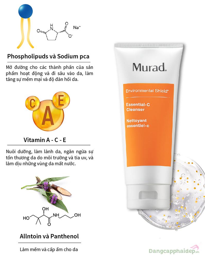 Murad Essential-C Cleanser được công nhận là sản phẩm giúp bù nước cho làn da bị tổn thương do môi trường.