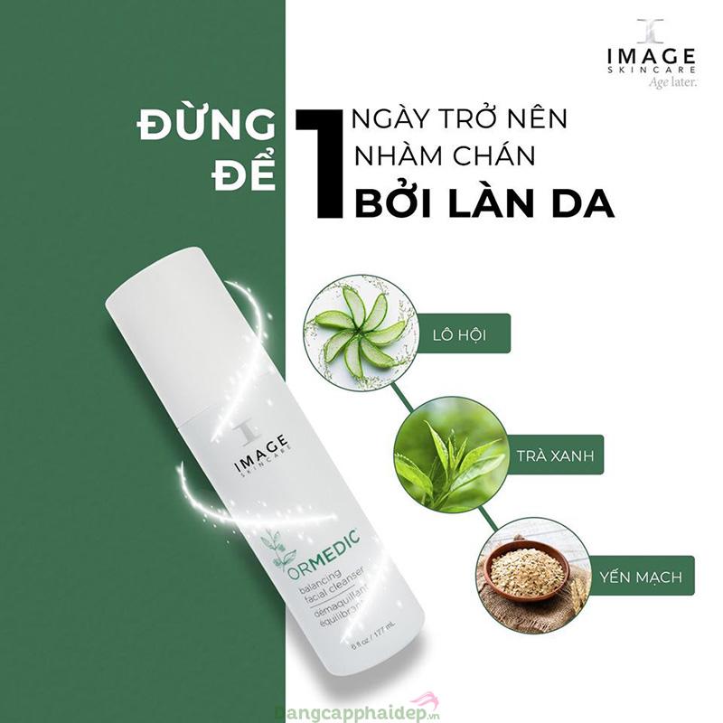 Sữa rửa mặt Image Ormedic chiết xuất từ thiên nhiên làm sạch sâu nhưng vẫn dịu nhẹ phù hợp với mọi loại da.