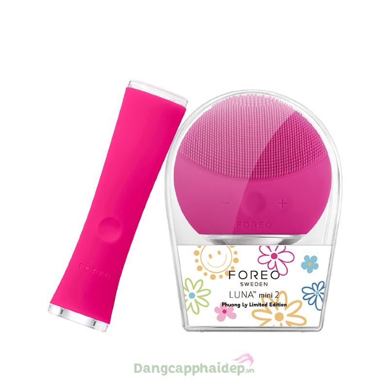 Bộ đôi máy rửa mặt và trị mụn Foreo Luna Mini 2 + Foreo Espada (Hồng đậm)