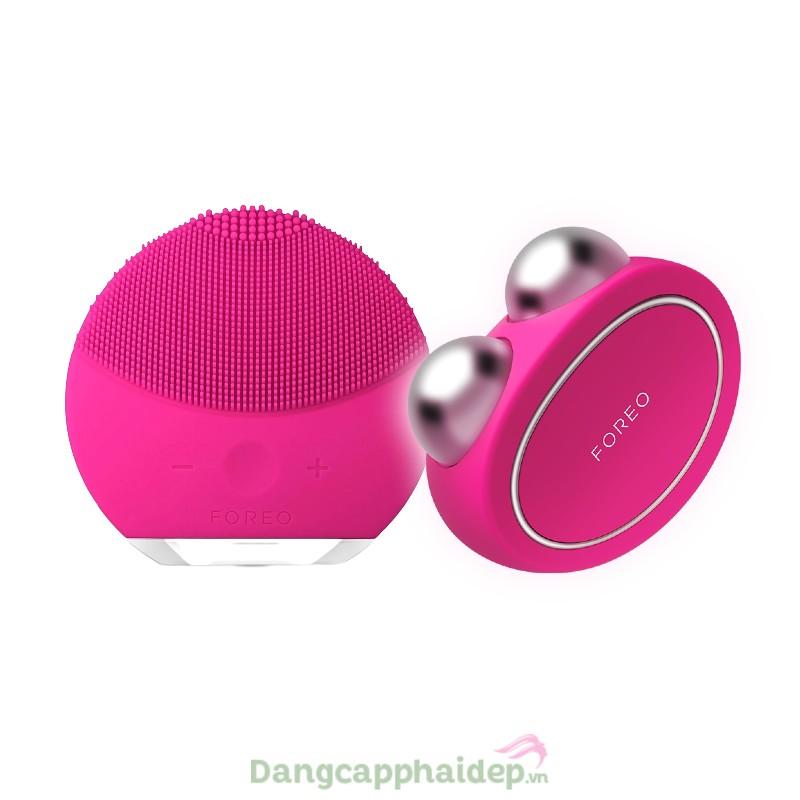 Bộ đôi máy rửa mặt và massage nâng cơ Foreo Luna Mini 2 + Foreo Bear (Hồng đậm)