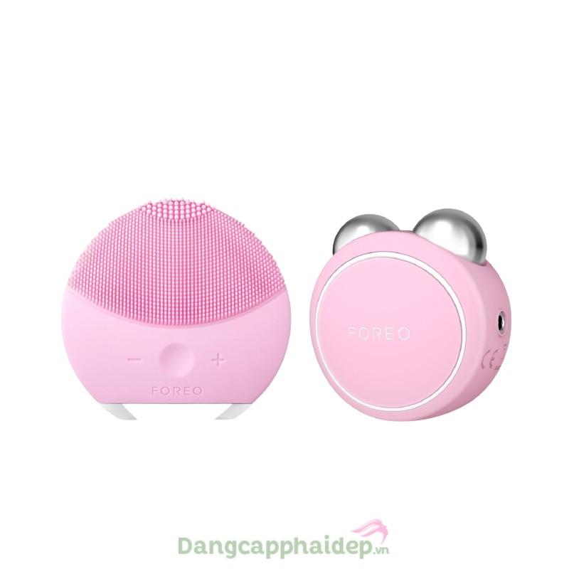 Bộ đôi máy rửa mặt và massage nâng cơ Foreo Luna Mini 2 + Foreo Bear Mini (Hồng nhạt)