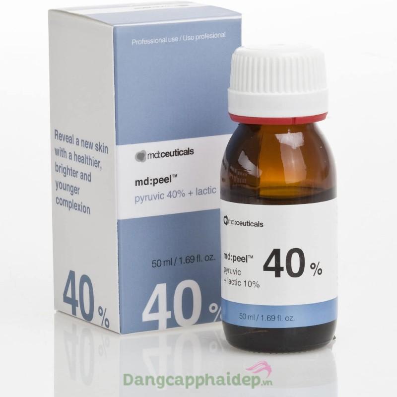 Md:ceuticals Md Peel Pyruvic 40% + Lactic 10% 50ml - Dung dịch thay da sinh học mụn mức 3,4 chống lão hóa