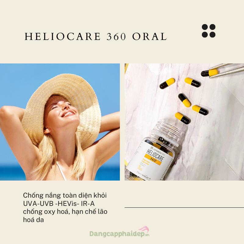 Viên uống chống nắng nội sinh Heliocare 360 Oral - Chống nắng toàn diện khỏi UVA-UVB -HEVis- IR-A, hỗ trợ chống oxy hoá, hạn chế lão hoá da.