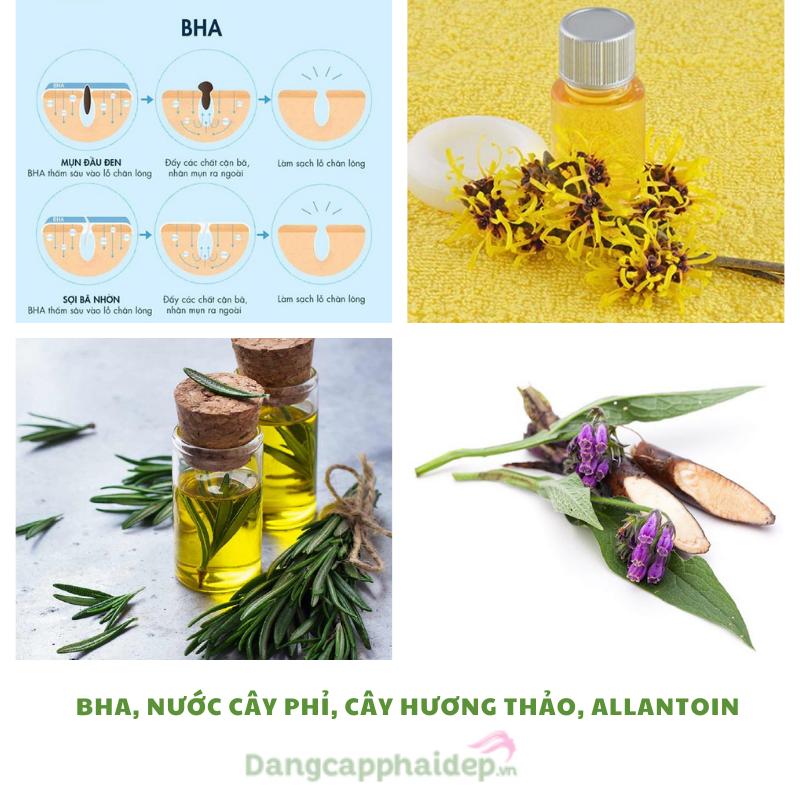 Thành phần chứa BHA thế hệ mới cùng các dược liệu thiên nhiên quý giá giúp nuôi dưỡng và bảo vệ da dầu mụn.